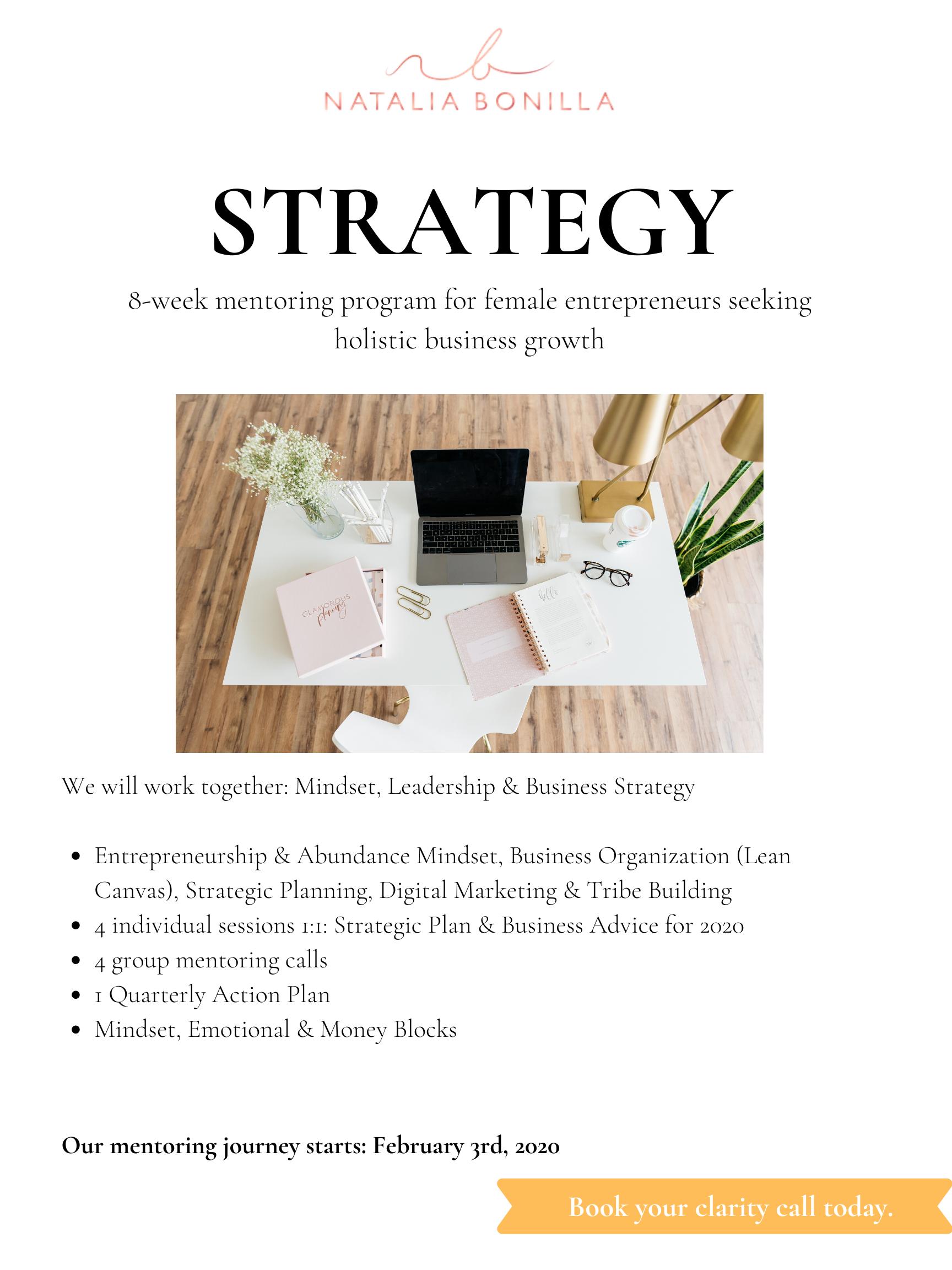 Mentoría en Estrategia para Emprendedoras en 2020 NB